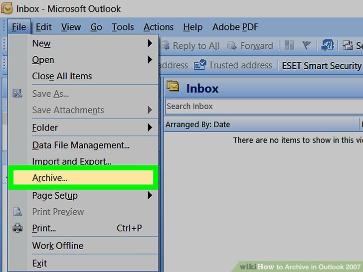 How to Archive in Outlook 2007 10 Steps (with Pictures) - wikiHow