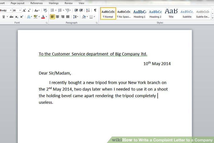 How to Write a Complaint Letter to a Company (with Sample Letters) - business complaint letter format