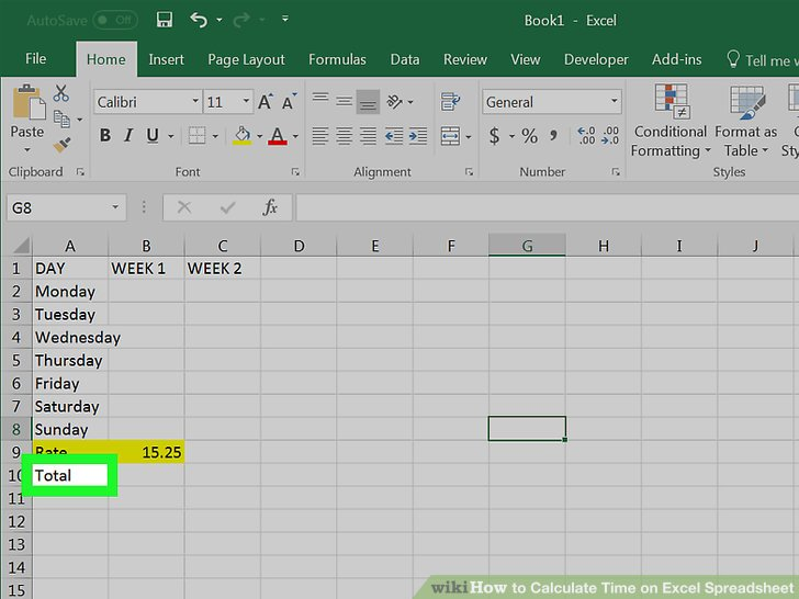 How to Calculate Time on Excel Spreadsheet (with Pictures)