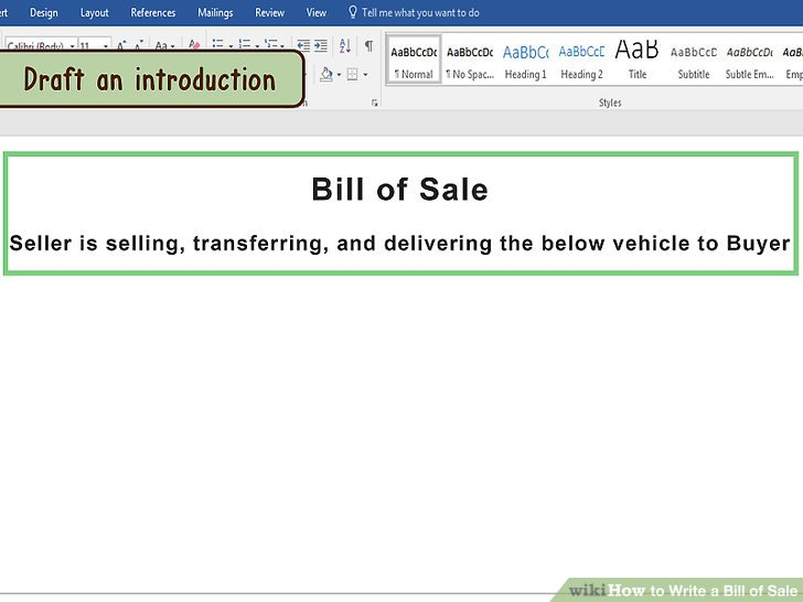 How to Draft a Bill of Sale for a Vehicle (with Pictures) - automotive bill of sales