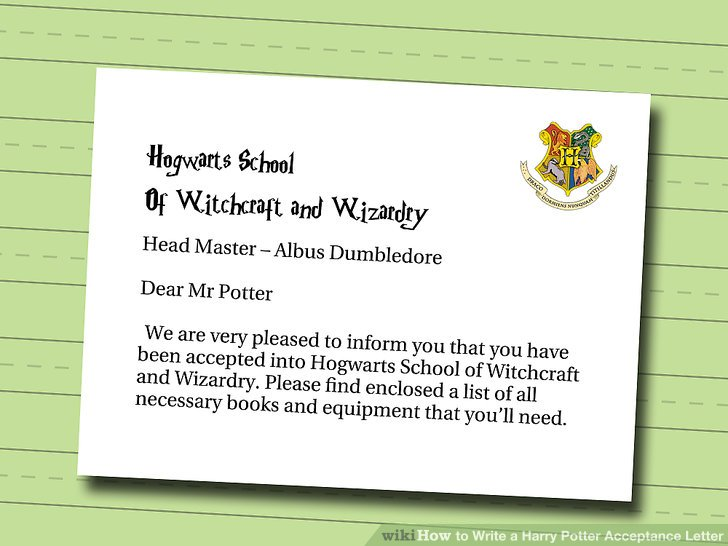 How to Write a Harry Potter Acceptance Letter 6 Steps - hogwarts acceptance letter
