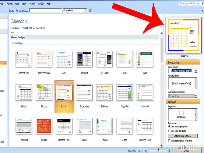 Microsoft Publisher Calendar