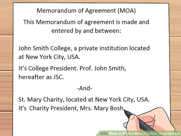 How to Write a Memorandum of Agreement 13 Steps (with Pictures) - memorandum of agreement template