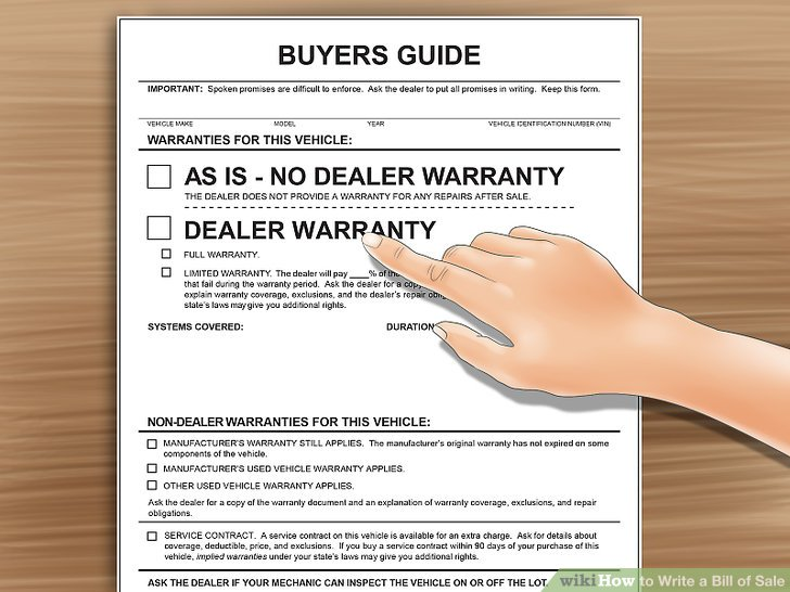 How to Write a Bill of Sale (with Pictures) - wikiHow - bill of sale for car