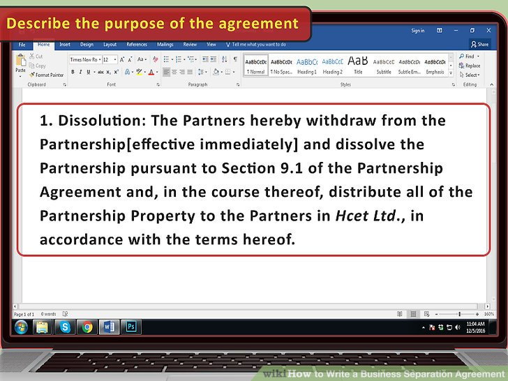 How to Write a Business Separation Agreement (with Pictures)