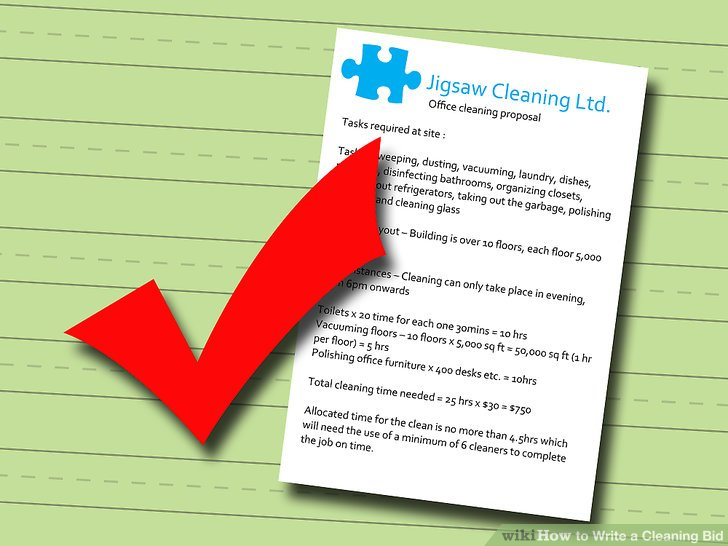 how to write a bid for a cleaning job
