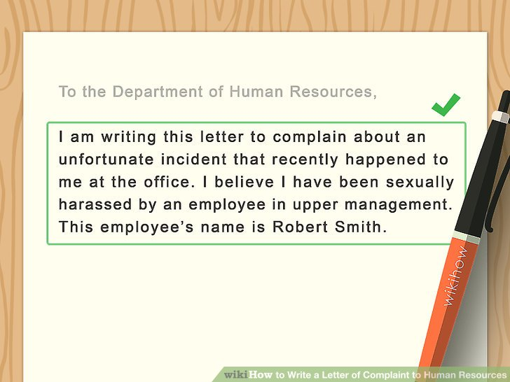 4 Ways to Write a Letter of Complaint to Human Resources - wikiHow - complaint email template