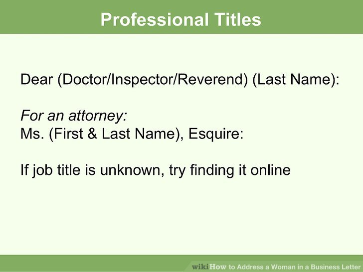 How to Address a Woman in a Business Letter 7 Steps - professional business letter