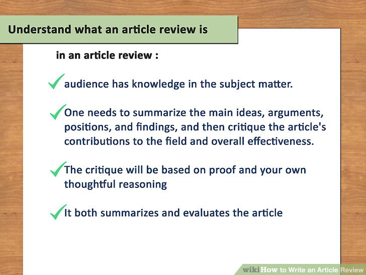How to Write an Article Review (with Sample Reviews) - wikiHow
