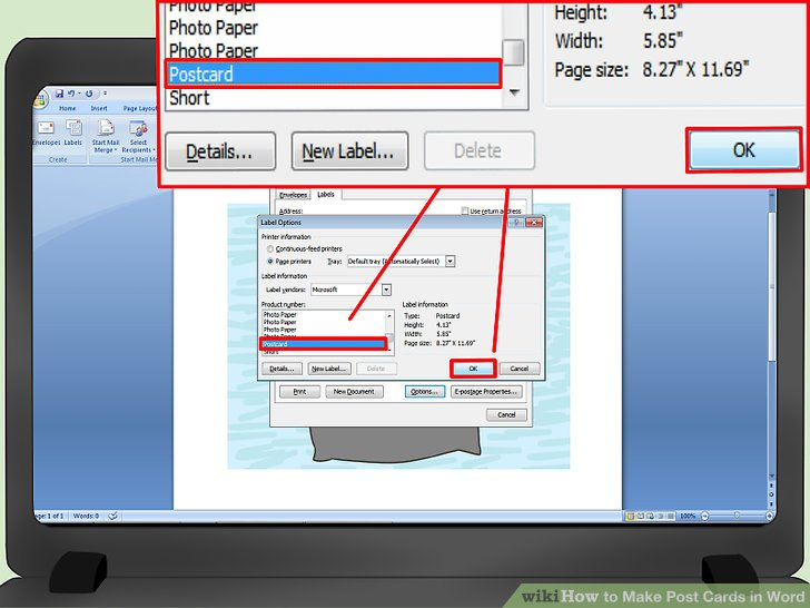 3 Ways to Make Post Cards in Word - wikiHow - microsoft word postcard template