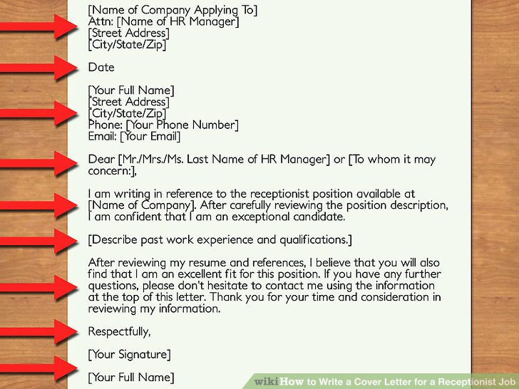 How to Write a Cover Letter for a Receptionist Job 12 Steps - what to write in a cover letter for a job