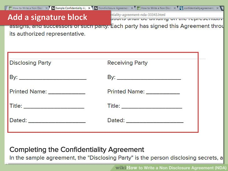 How to Write a Non Disclosure Agreement (NDA) (with Pictures) - vendor confidentiality agreement