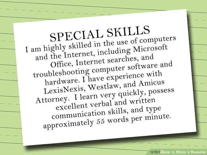 7 Ways to Make a Resume - wikiHow - special skills on resume
