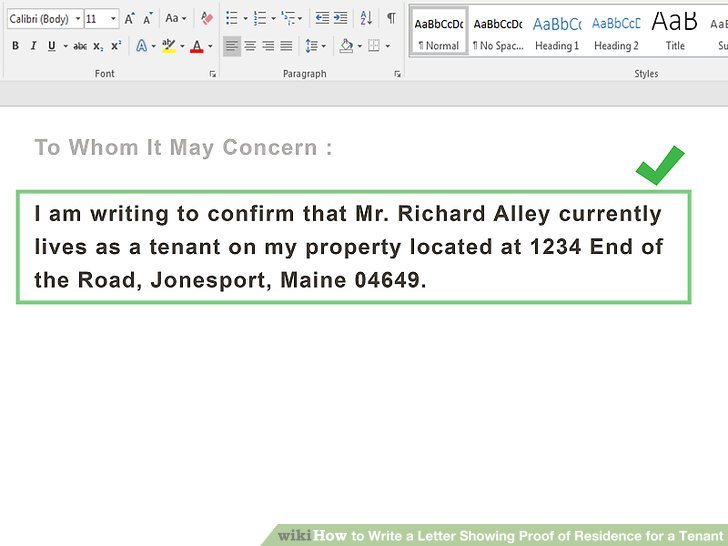 How to Write a Letter Showing Proof of Residence for a Tenant - to whom it may concern letter