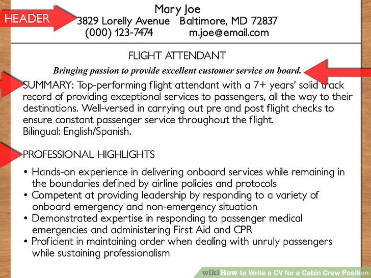 How to Write a CV for a Cabin Crew Position (with Pictures) - air flight attendant sample resume