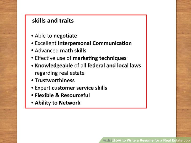 How to Write a Resume for a Real Estate Job 13 Steps - skills to use on a resume