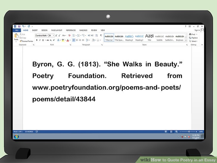 How to Quote Poetry in an Essay (with Pictures) - wikiHow
