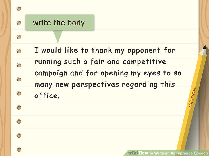 ... How To Write An Acceptance Speech (with Sample Speeches)   Acceptance Speech  Example Template ... Design Ideas