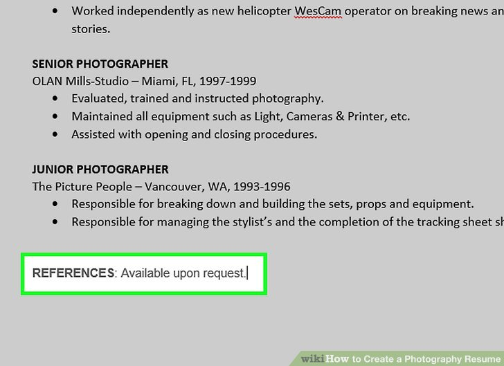 How to Create a Photography Resume (with Pictures) - wikiHow