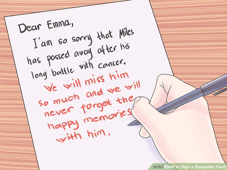 signing a sympathy card from a business