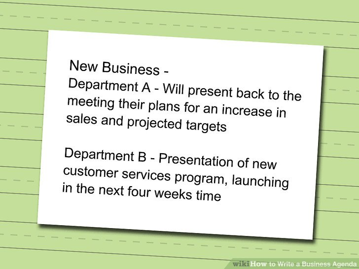 How to Write a Business Agenda 7 Steps (with Pictures) - wikiHow