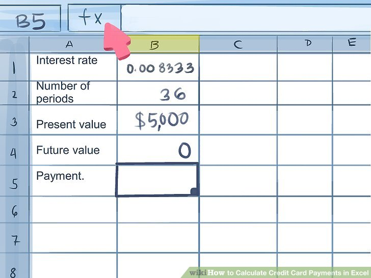 How to Calculate Credit Card Payments in Excel 10 Steps - calculate credit card payments
