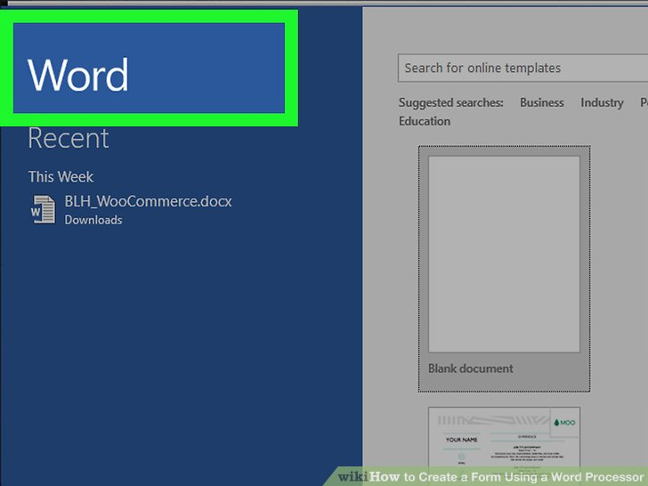 How to Create a Form Using a Word Processor (with Pictures)