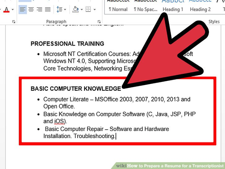 How to Prepare a Resume for a Transcriptionist 9 Steps - skills to mention on a resume