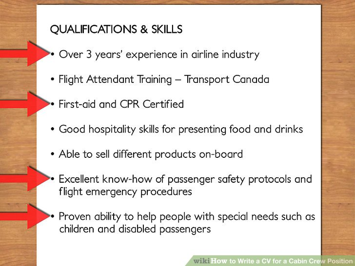 How to Write a CV for a Cabin Crew Position (with Pictures) - good qualities to put on a resume