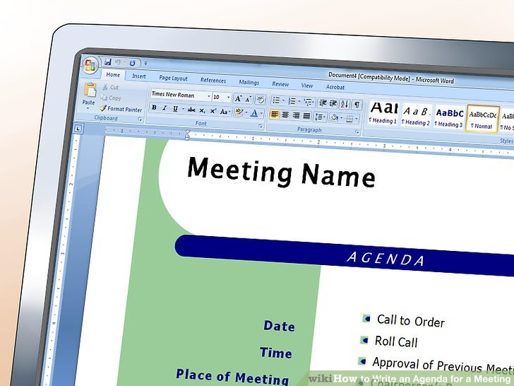 How to Write an Agenda for a Meeting (with Sample Agendas) - meetings template