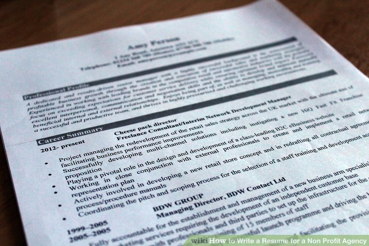 3 Ways to Write a Resume for a Non Profit Agency - wikiHow - resume for non profit