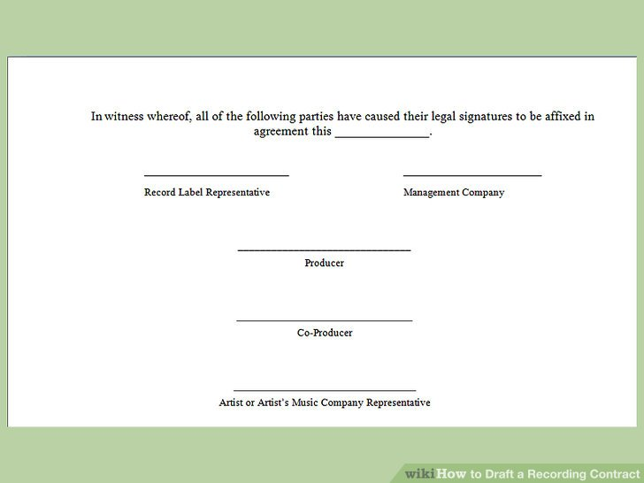 How to Draft a Recording Contract (with Pictures) - wikiHow - music agreement contract