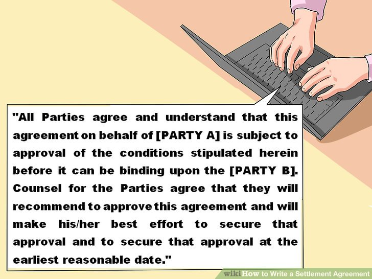 How to Write a Settlement Agreement (with Pictures) - wikiHow - settlement agreement
