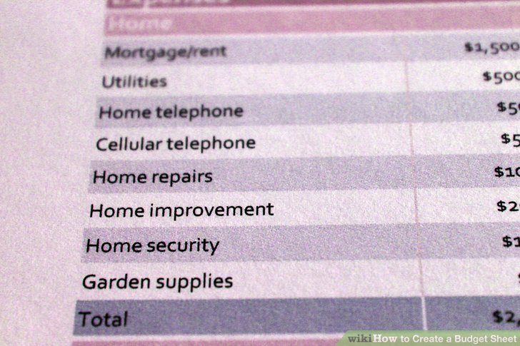 How to Create a Budget Sheet 7 Steps (with Pictures) - wikiHow