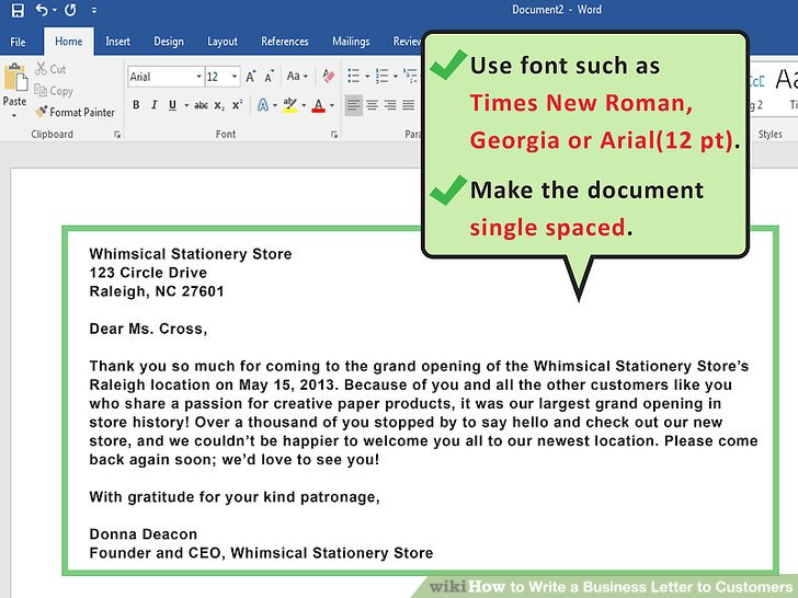 How to Write a Business Letter to Customers (with Sample Letters) - new business letter format to client