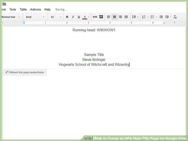 How to Create an APA Style Title Page via Google Drive 12 Steps