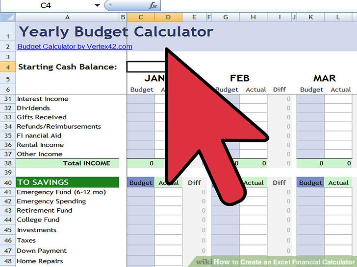How to Create an Excel Financial Calculator 8 Steps - home budget calculator excel