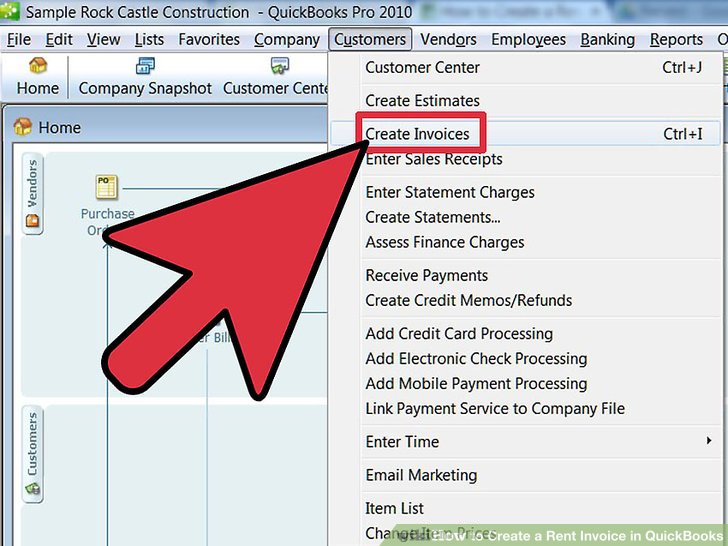 How to Create a Rent Invoice in QuickBooks 10 Steps - creat an invoice