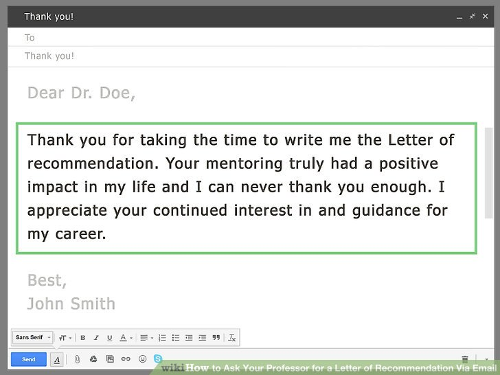 How to Ask Your Professor for a Letter of Recommendation Via Email - thank you letters for references and recommendations