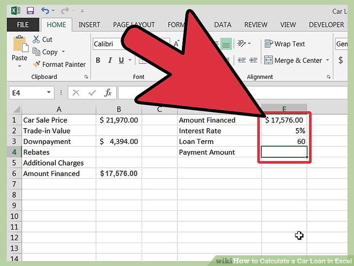 How to Calculate a Car Loan in Excel 10 Steps (with Pictures) - auto loan payoff calculator excel