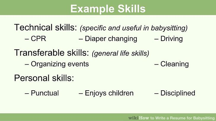 How to Write a Resume for Babysitting (with Pictures) - wikiHow - personal skills resume