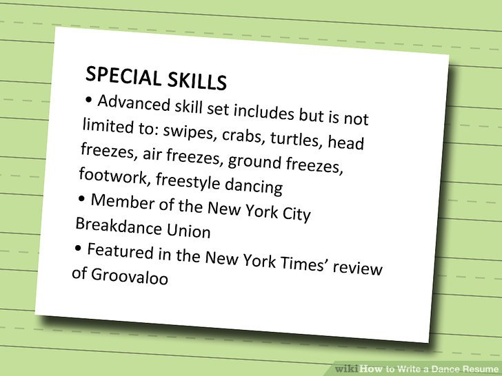 How to Write a Dance Resume (with Sample Resume) - wikiHow - Example Of A Dance Resume