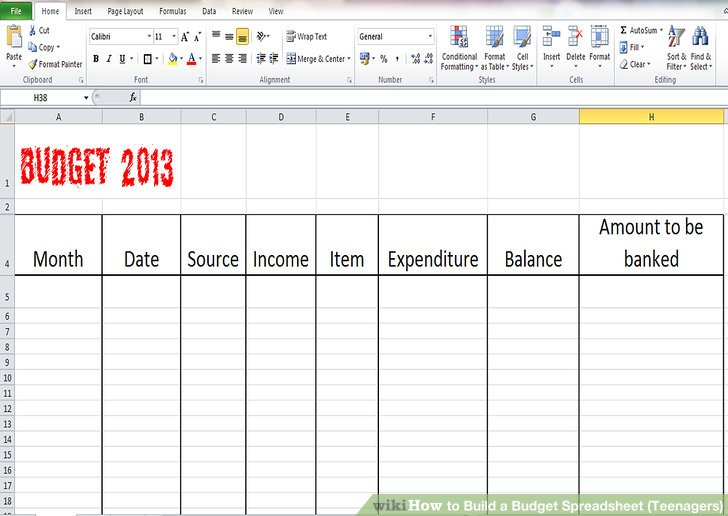 How to Build a Budget Spreadsheet (Teenagers) 13 Steps