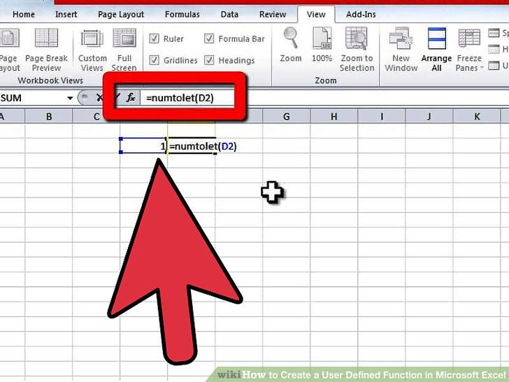 excel user defined function