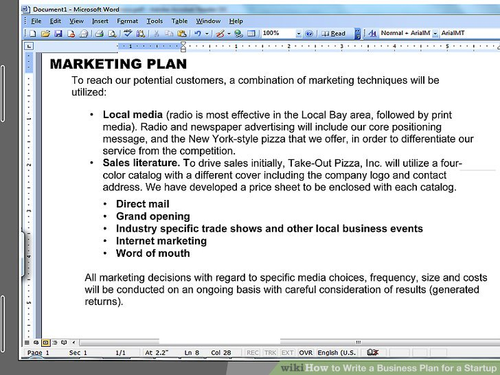 How to Write a Business Plan for a Start Up (with Pictures) - startup business plan template