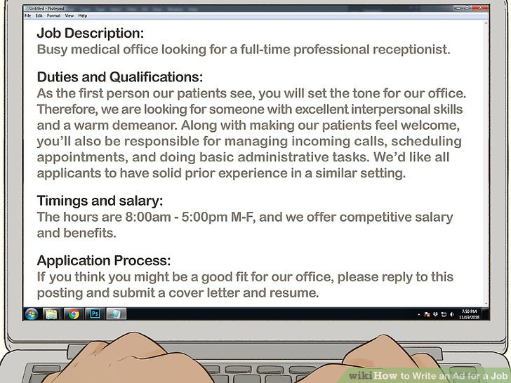 How to Write an Ad for a Job 11 Steps (with Pictures) - wikiHow