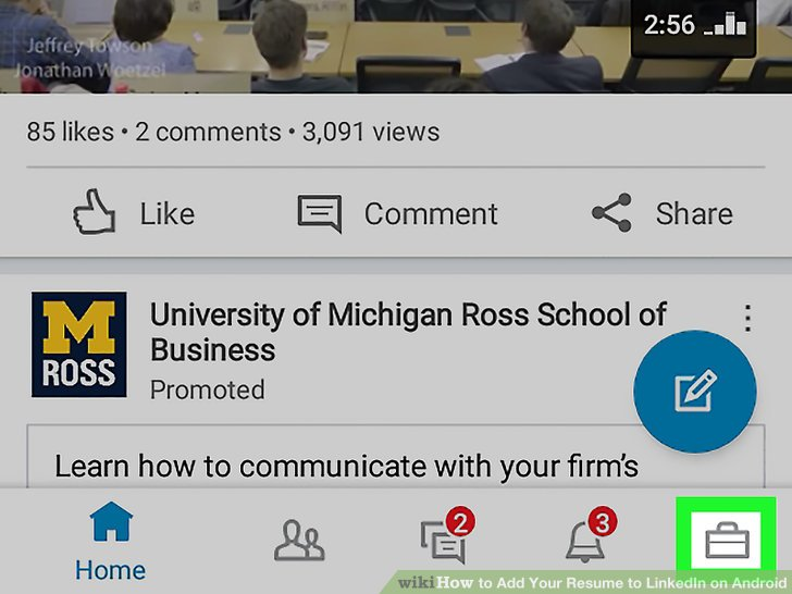 how to upload resume in linkedin android app