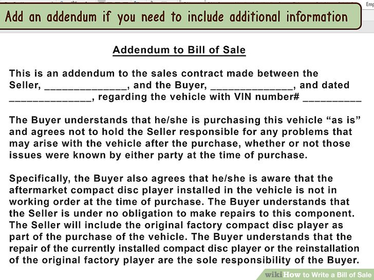 How to Draft a Bill of Sale for a Vehicle (with Pictures)