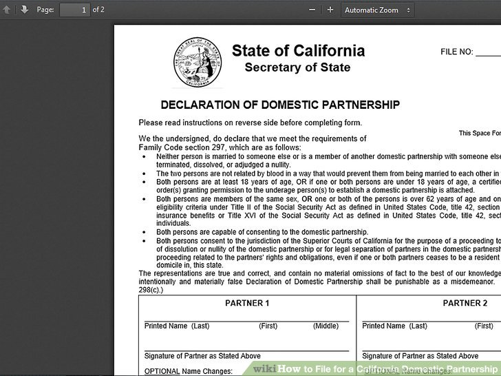 How to File for a California Domestic Partnership 7 Steps