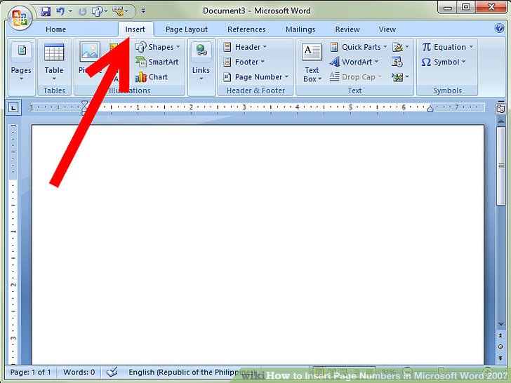 How to Insert Page Numbers in Microsoft Word 2007 4 Steps - mickrosoft word
